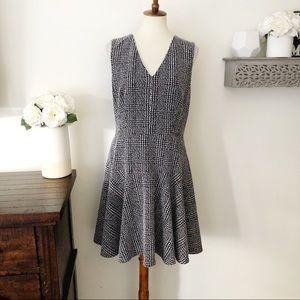 Eliza J textured knit tank A-line dress navy blue white size 14